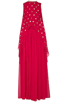 Crimson red embroidered cape with palazzo pants