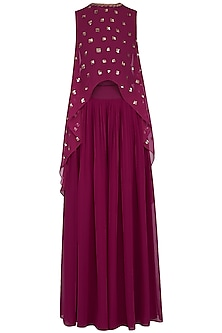 Wine embroidered cape with palazzo pants