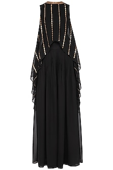 Black embroidered cape with palazzo pants