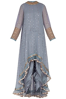 Grey Embroidered Dhoti Kurta Set With Inner by Vvani by Vani Vats