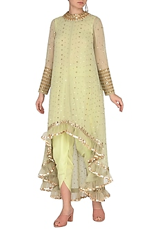 Sap Green Embroidered Dhoti Kurta Set With Inner by Vvani by Vani Vats