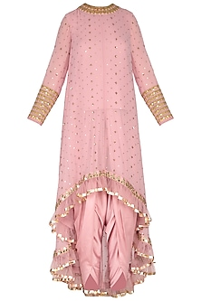 Powder Pink Embroidered Dhoti Kurta Set With Inner by Vvani by Vani Vats