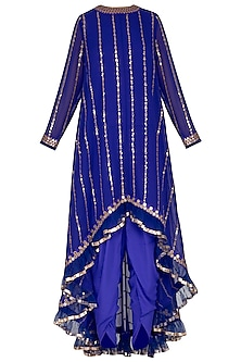 Royal Blue Embroidered Dhoti Kurta Set With Inner by Vvani by Vani Vats