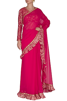 Peacock Pink Embroidered Frilled Saree Set by Vvani by Vani Vats