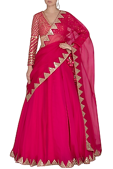 Peacock Pink Embroidered Mirror Lehenga Set by Vvani by Vani Vats