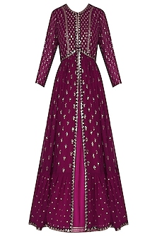 Plum Anarkali with Embroidered Jacket and Dupatta by Vvani by Vani Vats