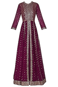 Wine Anarkali with Embroidered Jacket and Dupatta
