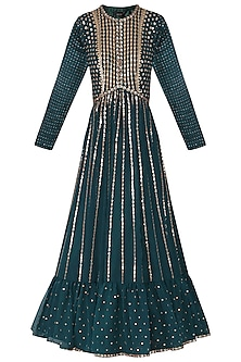 Teal Embroidered Anarkali Gown with Dupatta