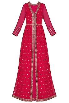 Pink Anarkali with Red Embroidered Jacket and Dupatta