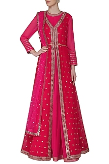 Pink Anarkali with Red Embroidered Jacket and Dupatta by Vvani by Vani Vats
