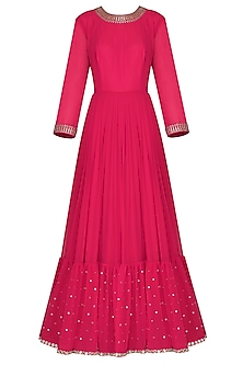 Crimson Red Embroidered Anarkali Gown with Dupatta