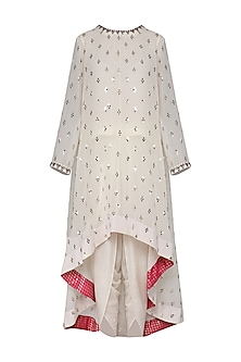 Off White Asymmetrical Embroidered Kurta with Dhoti Pants