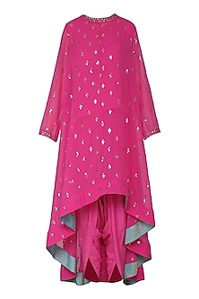 Pink Asymmetrical Embroidered Kurta with Dhoti Pants