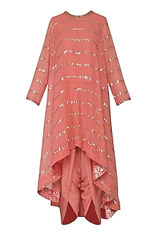 Burnt Orange Asymmetrical Embroidered Kurta with Dhoti Pants