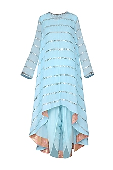 Sky Blue Asymmetrical Embroidered Kurta with Dhoti Pants