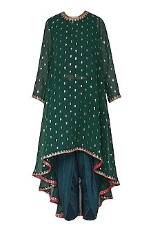 Emerald Green Asymmetrical Embroidered Kurta with Dhoti Pants