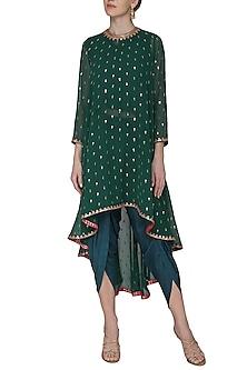 Emerald Green Asymmetrical Embroidered Kurta with Dhoti Pants by Vvani by Vani Vats