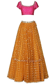 Mustard and Hot Pink Embroidered Lehenga Set