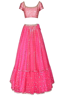 Hot Pink and Baby Pink Embroidered Lehenga Set