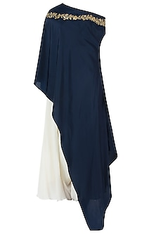 Midnight Blue Embroidered One Shoulder Cape with Dhoti Pants