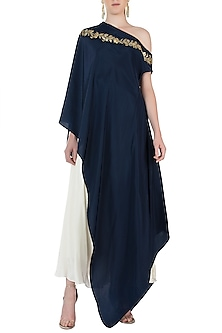 Midnight Blue Embroidered One Shoulder Cape with Dhoti Pants by Varsha Wadhwa