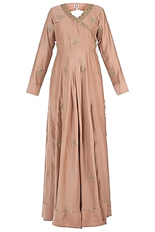 Nude Embroidered Angrakha Kurta with Churidar Pants and Dupatta