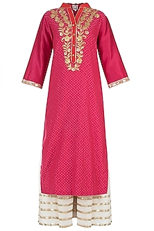 Rani Pink Embroidered Kurta with Gharara and Dupatta