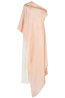 Tea Rose Embroidered One Shoulder Cape with Dhoti Pants by Varsha Wadhwa