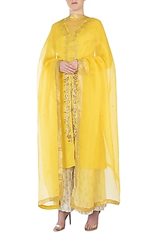 Yellow Embroidered Kurta with Gharara and Dupatta by Varsha Wadhwa
