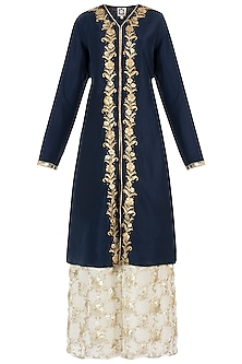 Midnight Blue Embroidered Kurta with Gharara and Dupatta