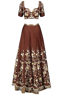 Maroon Zari, Sequins and Patent Leather Flowers Lehenga Set