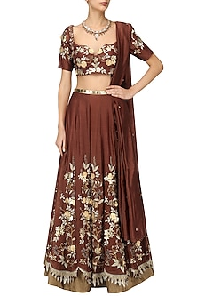 Maroon Zari, Sequins and Patent Leather Flowers Lehenga Set by Varsha Wadhwa