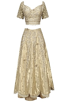 Gold Zari, Sequins and Patent Leather Flowers Lehenga Set