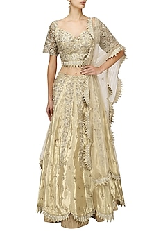 Gold Zari and Patent Lehenga