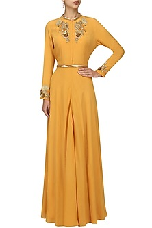 Tan Embroidered Jacket Style Gown by Varsha Wadhwa