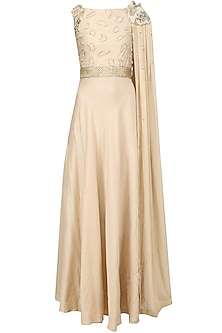 Sand Beige Pearl Embroidered Cape Gown by Varsha Wadhwa