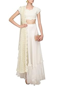 Off White Pearl Embroidered Lehenga Set by Varsha Wadhwa
