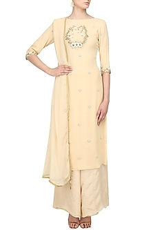 Sand Beige Pearl Embroidered Kurta with Palazzo Pants by Varsha Wadhwa