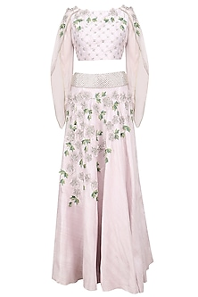 Silver Mauve 3D Floral Embroidered Lehenga Set