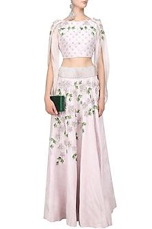 Silver Mauve 3D Floral Embroidered Lehenga Set by Varsha Wadhwa