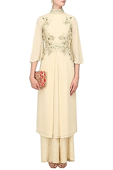 Sand Beige Embroidered Kurta and Palazzo Pants Set by Varsha Wadhwa