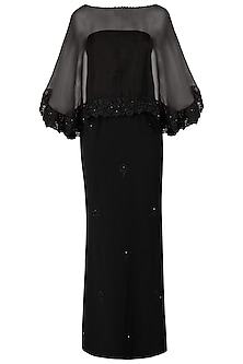 Black Off Shoulder Embroidered Gown with Sheer Cape