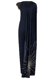 Midnight Blue One Shoulder Embroidered Cape Jumpsuit