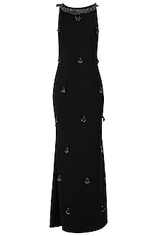 Black Embellished Sleeveless Gown