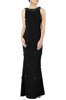 Black Embellished Sleeveless Gown by Varsha Wadhwa
