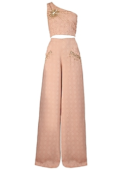 Nude One Shoulder Embroidered Crop Top with Palazzo Pants
