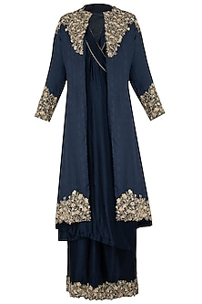Midnight Blue Embroidered Jacket with Kurta and Palazzo Pants by Varsha Wadhwa