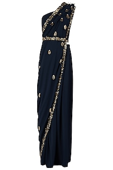 Midnight Blue Embellished Pre-Draped Saree with Blouse and Belt