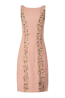 Nude Embroidered Midi Dress