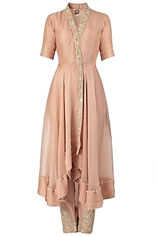 Nude Embroidered Long Kurta Set